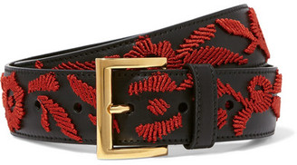 Prada - Embroidered Leather Belt - Black $555 thestylecure.com