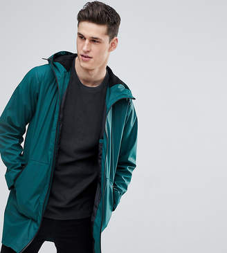 Asos Tall Shower Resistant Rain Coat With Borg Lined Hood In Bottle Green