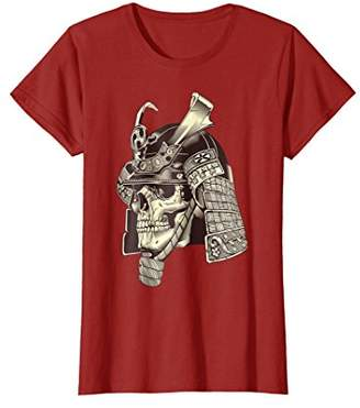 Japanese Samurai Skeleton Skull Warrior in Helmet T-Shirt