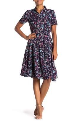 Nanette Lepore NANETTE Floral Short Sleeve Shirt Dress