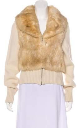 Maison Margiela Fur-Trimmed Knit Cardigan Beige Fur-Trimmed Knit Cardigan