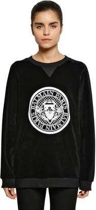 Balmain Logo Crest Velvet Sweatshirt