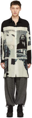 Yohji Yamamoto Black and White Print Long Shirt
