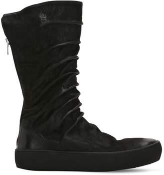 Waxed Suede High Top Zip Up Sneakers