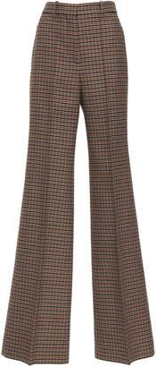 Victoria Beckham Plaid Tweed High-Waisted Wool Wide-Leg Pants