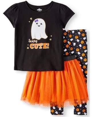 HALLOWEEN Halloween Short Sleeve T-Shirt, Leggings & Glitter Tutu, 3pc Outfit Set (Toddler Girls)