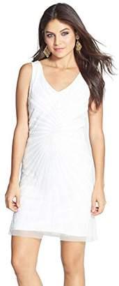 Adrianna Papell Women's Short Beaded V-Neck Dress Dress 6