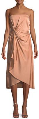 A.L.C. Roya Strapless Knot-Front Midi Dress