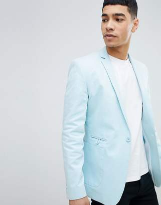 Asos Design DESIGN Super Skinny Blazer In Light Blue Cotton