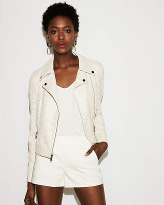 Express Minus The) Leather Perforated Boxy Moto Jacket