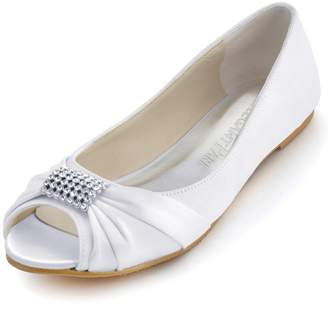 4387227e668 Elegantpark EP2053 Women Peep Toe Rhinestones Comfort Flats Pleated Satin  Wedding Bridal Shoes US 8