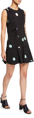 Derek Lam 10 Crosby Sleeveless Dot-Print Dress with Ruffle Hem