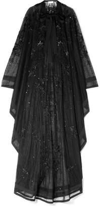 Elie Saab Crepe-trimmed Embellished Tulle Kaftan - Black