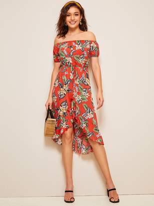 5f39d70083 Shein Tropical Floral Print Ruffle Hem Fringe Belted Bardot Dress