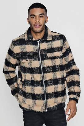 boohoo Brushed Check Wool Look Trucker Jacket