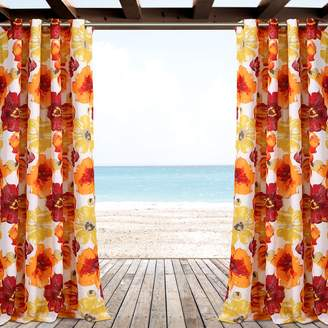 """Lush Decor 2-pack Leah Floral Indoor & Outdoor Window Curtains - 52"""" x 84"""""""