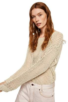 Mango - Cream 'Camo' Open Knit Jumper