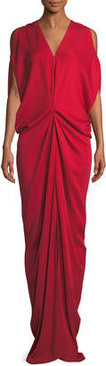 Zero Maria Cornejo Miu V-Neck Sleeveless Draped Long Dress