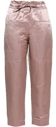 Brunello Cucinelli Cropped Crinkled-satin Straight-leg Pants