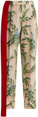 Stella McCartney Palm print silk trousers