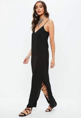 Missguided Black Plunge Strappy Maxi Dress