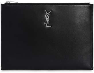 Saint Laurent Monogram Smooth Leather Pouch