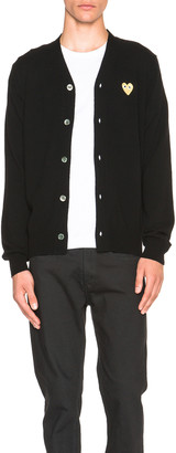 Comme des Garcons Cardigan with Gold Emblem in Black | FWRD