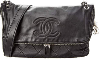 Chanel Black Quilted Lambskin Leather Large Cc Messenger Bag