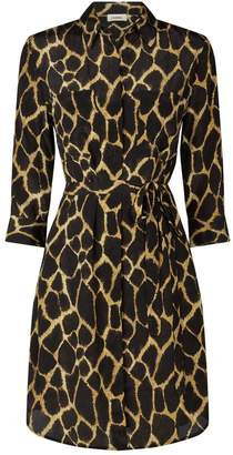 L'Agence Stella Giraffe Print Shirt Dress
