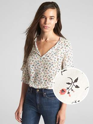 Gap Ruffle Sleeve Floral Print Blouse