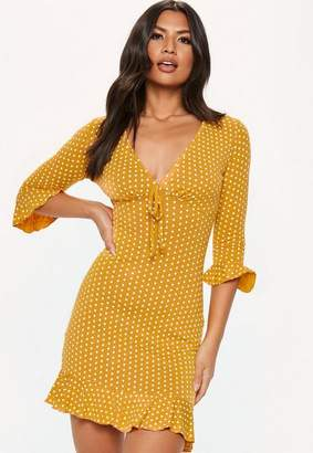 Missguided Yellow Polka Dot Print Frill Tea Dress