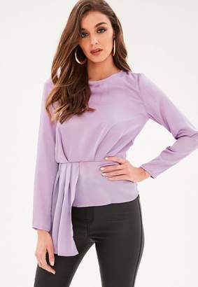 Missguided Long Sleeve Tier Drape Front Blouse