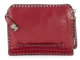 Valentino Leather Briefcase Clutch