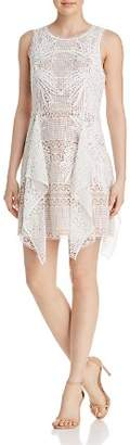 BCBGMAXAZRIA Drape-Detail Lace Dress