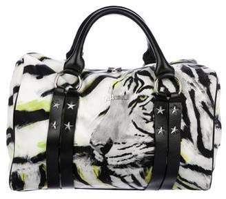 Just Cavalli Leather-Trimmed Printed Satchel w/ Tags