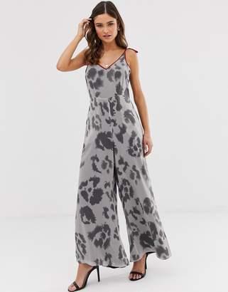 Religion wide leg jumpsuit with contrast trim in leopard