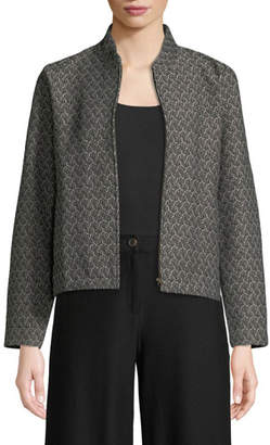Eileen Fisher Rosette Jacquard Zip-Front Long-Sleeve Short Jacket, Plus Size