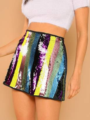 Shein Color Block Sequin Skirt