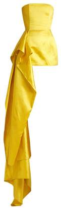 Halpern Asymmetric Draped Satin Bustier Top - Womens - Yellow