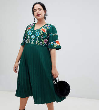 Asos DESIGN Curve pleated embroidered midi dress
