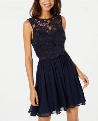 City Studios Juniors' Lace Popover Fit & Flare Dress