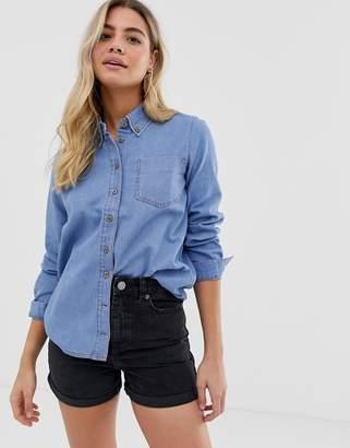 Asos Design DESIGN denim shirt in cali light wash