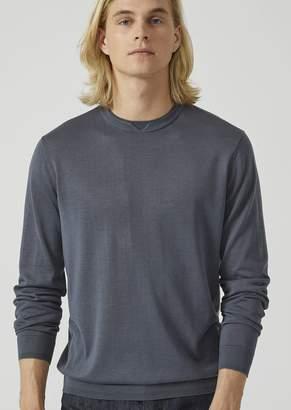Emporio Armani Plain Knit Silk And Cotton Sweater