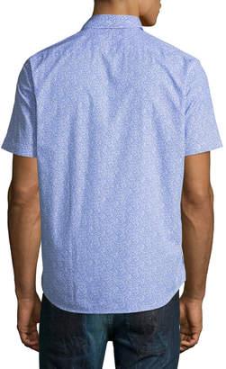 Neiman Marcus Micro-Floral Print Short-Sleeve Sport Shirt
