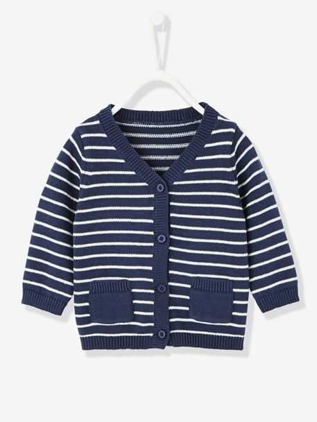 Baby Boys' Knitted Cardigan - blue dark striped