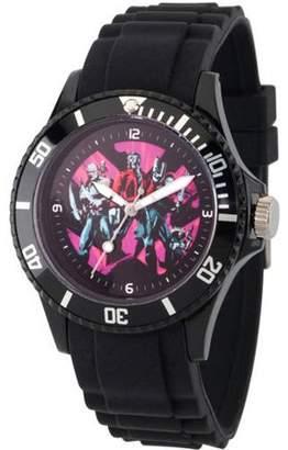 Marvel Guardians of the Galaxy Vol 2 Drax, Groot, Star-Lord, Gamora and Rocket Raccoon Unisex Captain America Black Plastic Watch, Black Bezel, Black Plastic Strap