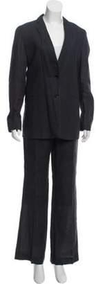 Burberry Linen Notched-Lapel Pantsuit Black Linen Notched-Lapel Pantsuit