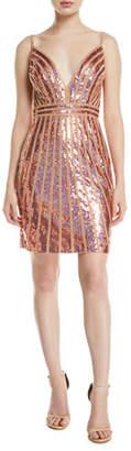 Jovani Striped Sequin V-Neck Mini Dress