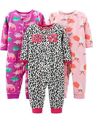 Carter's Simple Joys by Girls' Toddler 3-Pack Loose Fit Flame Resistant Fleece Footless Pajamas