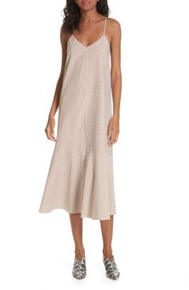 Tibi Kaia Stripe Flared Midi Dress